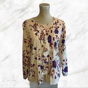 Banana Republic | Red & Blue Floral Grey Blouse